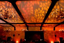 Fall Theme Wedding / A canopy of  color leaves sets the mood for a dramatic fall wedding at The Marros Rye NY  Lighting design by HourglassLighting.com