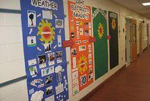 Hallway displays / Hallway decorating ideas for kindergarten, first grade, second grade, third grade, fourth grade, and fifth grade.