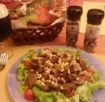 Warm salad with chiken liver. / Wonderful tasty food with pine nuts, which is simply to cook and good to eat.