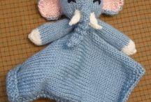 knitted elephant blankie