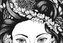 zen drawings, line drawings, Pen and Ink
