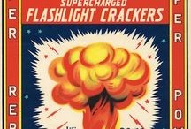 Kaboom! Feisty Firework Labels / Vintage Firework Illustration for the Fourth of July