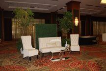 Gala at the Dallas Sheraton / Lounge furniture decor in large foyer space
