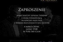 Kaliszuk & Mania in songs w Pure Sky Club / Dodano: 11 minut temu 4 marca Marek Kaliszuk wystąpi w swoim nowym projekcie muzycznym Kaliszuk & Mania in Songs stworzonym z znakomitym pianistą jazzowym Piotrem Mania.http://artimperium.pl/wiadomosci/pokaz/186,kaliszuk-mania-in-songs-w-pure-sky-club#.UxS6U_l5OSp