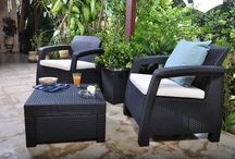 Patio Furniture Set Coffee Table Seaters Modern Garden Modern Black Arm Chairs