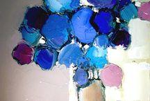tableur fleurs bleues