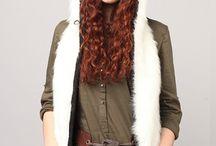 Winter hats made of fake fur