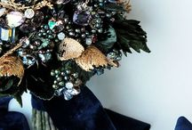 Couture Bouquet / Gold Evergreen Gemstone Swarovski Crystal and Pearl Couture Bouquet, Couture NYC Blush Champagne and Ivory Silk Fabric Flower Crystal and Pearl Bouquet