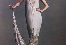 [20s] Flapper / The most daring elements of late 1920s fashion: a straight silhouette, with dresses cut for boyish flat chests and slim hips; a knee-length (or higher) fringed or handkerchief hemline; jeweled reticules; Louise Brooks bobbed hair; cloche hats; and belted short jackets.