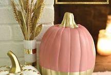 Coloured pumpkin decorations