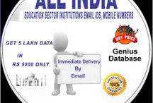 All Over India Education Sector / All Over India Education Sector Institutions Email Ids, Mobile numbers Database with City State & Location. 1. Distance Learning Centers Data 2. Universities Approved Institutes Data 3. Study Centers Database 4. Computer Training Institute Database 5. Admission Information Centers Database & etc. Over All Data approx: 5 lakh.....