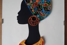 Quilled african woman face