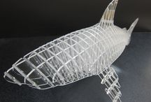 """A little 3D side project...routed shark. / A shark CNC routed out of 1/8"""" clear acrylic and then put together."""