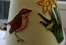 Lampshades / Free motion embroidery lampshades