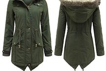 Khaki padded parka with fur
