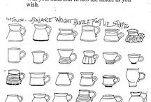 Ceramic throwing cups, pots etc.