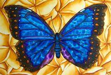 BUTTERFLY SILK PAINTINGS : JEAN-BAPTISTE / A collection of  butterfly original silk paintings by master silk artis  Jean-Baptiste of Saint Lucia.