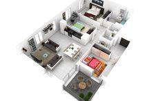 Floor plans. Three bedrooms