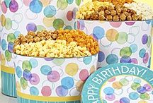 Birthday Popcorn / You'll find snacks and treats, perfect for any birthday party, presented in festive tins and gift boxes. Our gourmet popcorn gifts are a great way to wish someone a very happy birthday! Visit our website to see our full line of Birthday Gifts! https://www.thepopcornfactory.com/birthday-gifts
