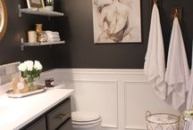 black bathroom interior
