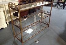 """really nice 3 glass shelfs console table with gold frame / 525$ I have a really nice Console table with glass shelfs.  really nice addition to your decor that piece has never been use,it was a floor model  the measurements are:  13 inches depth 36 inches high 46 inchs long it is in great condition.  I am in Brampton Area.   Ask me what else we have for sale...we have a lot.  come see our store ELV we do consignment and sells items for you  Thank you  """"No Pay Pal"""""""