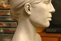 Clay busts, torsos, heads and faces