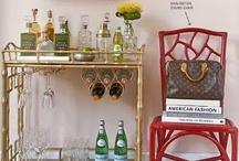 bar cart inspiration / bar cart design and decorating  home decor and interiors room inspiration