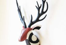 """fabric trophy / """"Fabric trophy"""" is handmade fabric deer head looks like hunting trophy.I carefully sew it one-by-one and stuff with polyester stuffing only."""