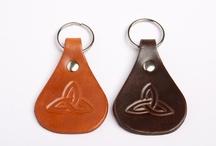 Leather keyrings / Hand tooled leather keyrings