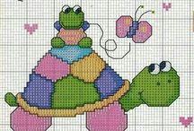 Haft krzyżykowy - Żółwie