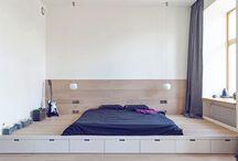 podium bed storage