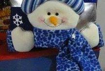 muñeco de nieve azul