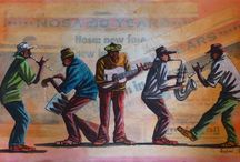 Musicians - African Art / African art featuring musicians - oil paintings, watercolors, mixed media - all pops of color and style.