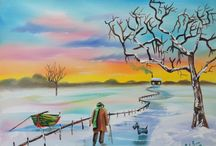 Winter landscapes / Some of my snow themed paintings
