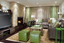 nappali, függöny, szőnyeg