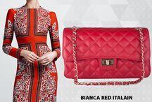 Bianca Red Quilted Italian Leather Handbag - Marlafiji