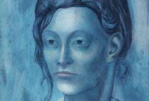 PICASSO - EL PERIODO AZUL / Para mi el color azul, mi preferido, siempre ha significado la paz y la suavidad, la calma y el sosiego. En cambio para Picasso fue el color de la tristeza y de la penuria, un color que plasmaba en sus cuadros cuando sentía pena y rabia y mucha impotencia.  Me gusta la etapa azul de Picasso, expresa su lado humano, capaz de transmitir las miserias humanas.