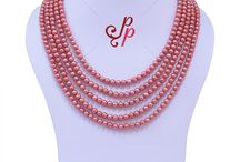 Gorgeous Pearl Necklace in Bright Reddish Pink Pearls at Rs.3,600