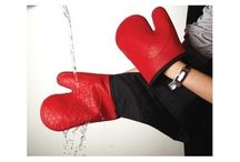 Master Class Double Oven Glove,Resistant Silicone-Red-Deluxe professional mitts
