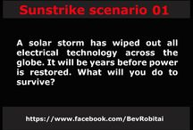 Sunstrike / Scenarios from the novel Sunstrike, where solar flares have wiped out electricity and people struggle to survive.