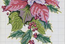 Kerst bloemen borduren