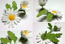 Crochet flowers, hearts, miniature in nature:végétal ,animal....things / all crochet flowers, nature symbols( birds, bees, butterflys, fruits etc....miniatures  shapes of living soûl( human ), or little shapes of things as symbols ( music instruments, plane,house , books etc)etc... / by Margot Procureur