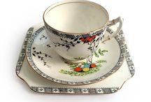 trio china / conjunto xícaras chá