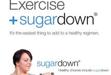 Healthy Blood Sugar Levels / Supporting healthy blood sugar levels throughout the day with diet (eating foods low on the Glycemic Index), exercise and sugardown, a natural chewable supplement.