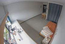 Résidence les Flamboyants / 402 studios de 24m²  dont 8 adaptés aux personnes à mobilité réduite. Située à 5 minutes du campus de l'Esplanade et 10 minutes du centre ville.