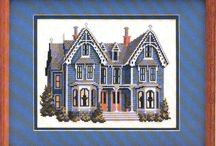 cross stitch victorian houses