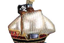 Pirate Theme Ornaments / Collection of Pirate themed Christmas ornaments from Inge-Glas of Germany, Old World Christmas and Varsovia.