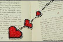 haft krzyżykowy  - walentynki, serca