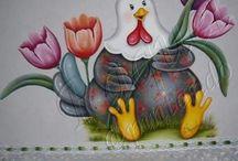 Pintura galo com papoula