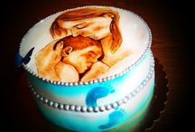 Mother and her baby cake - hand painted